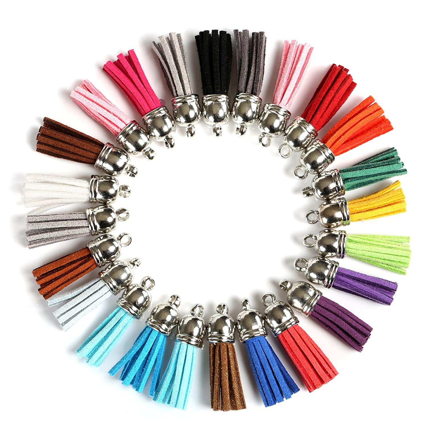 Naler 120pcs Leather Tassel Pendants Faux Suede Tassel with Caps 38 mm for Key Chain Straps Hanging Decoration DIY Accessories, 24 Colors 4337038508