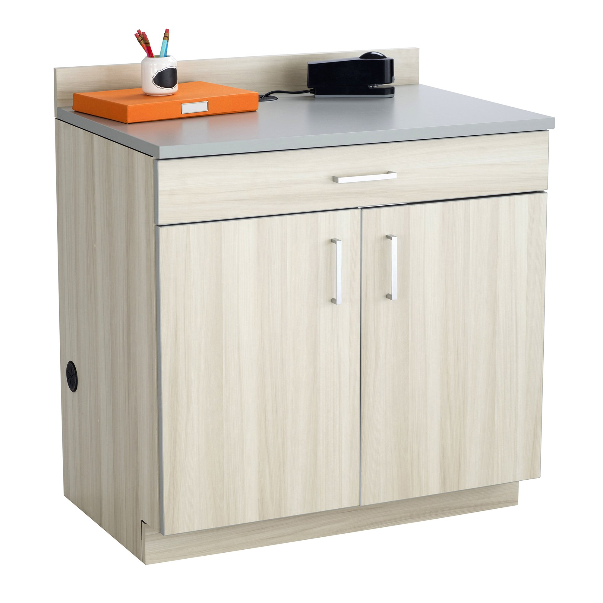 Safco Products Modular Hospitality Breakroom Base Cabinet, 2 Doors/1 Drawer/1 Adjustable Shelf, Vanilla Stix Base/Gray Top by Safco