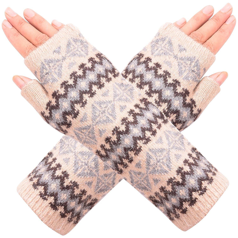 Wooly Bugged Women's Winter Fingerless Arm Warmers Gloves Warm Knit CARMWARMER13LIGHTPINKW