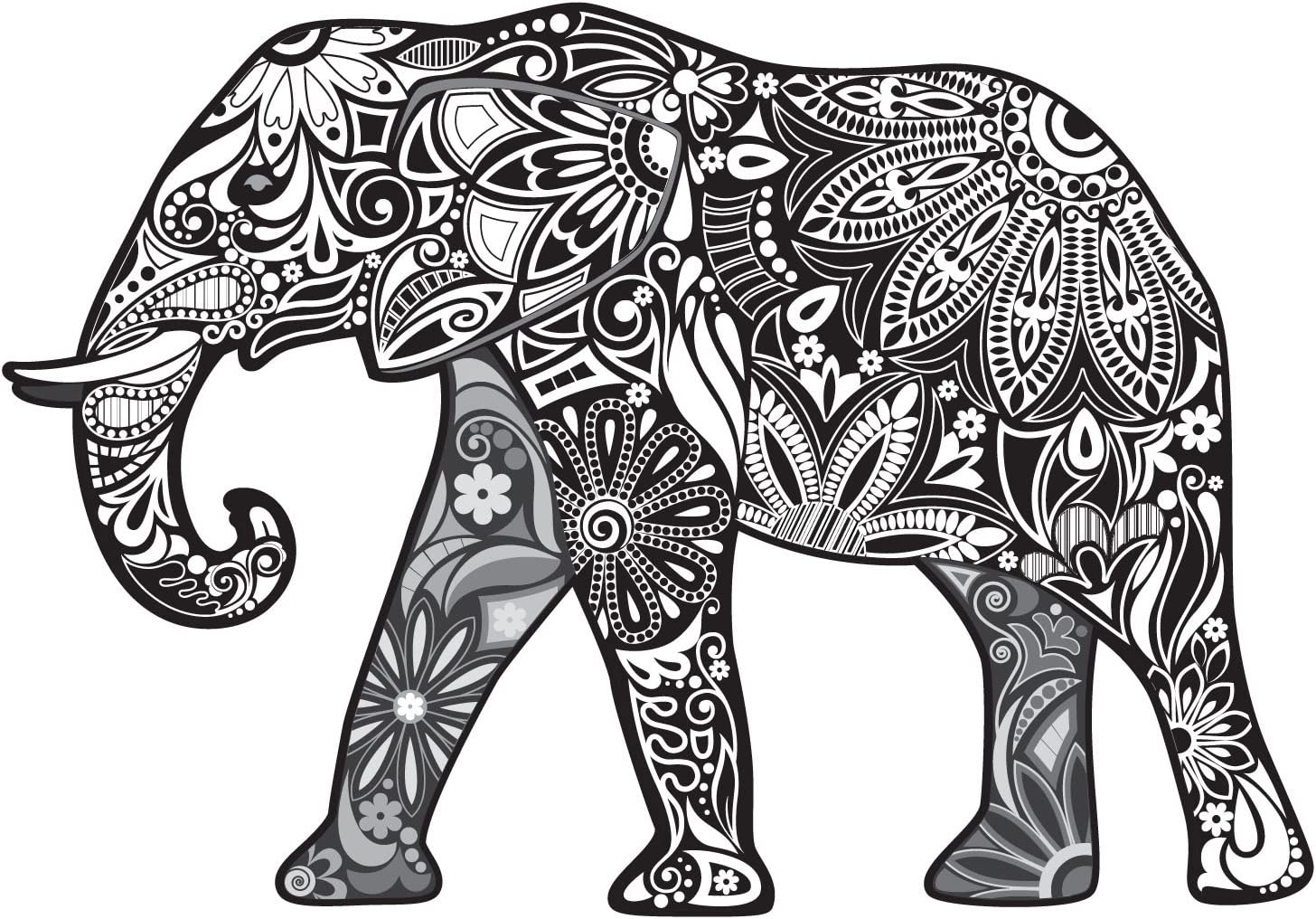 Black and White Paisley Elephant - 5 Inch Full Color Decal for Macbooks or Laptops - Proudly Made in The USA from Adhesive Vinyl