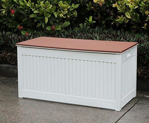 Jardín Baúl de almacenaje para exteriores (plástico, 248L, color marrón: Amazon.es: Jardín