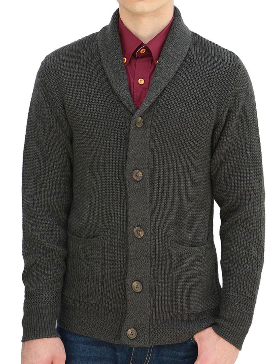 Allegra K Men Shawl Collar Pockets Front Button Front Cardigan M Black,Black,Medium / US 40