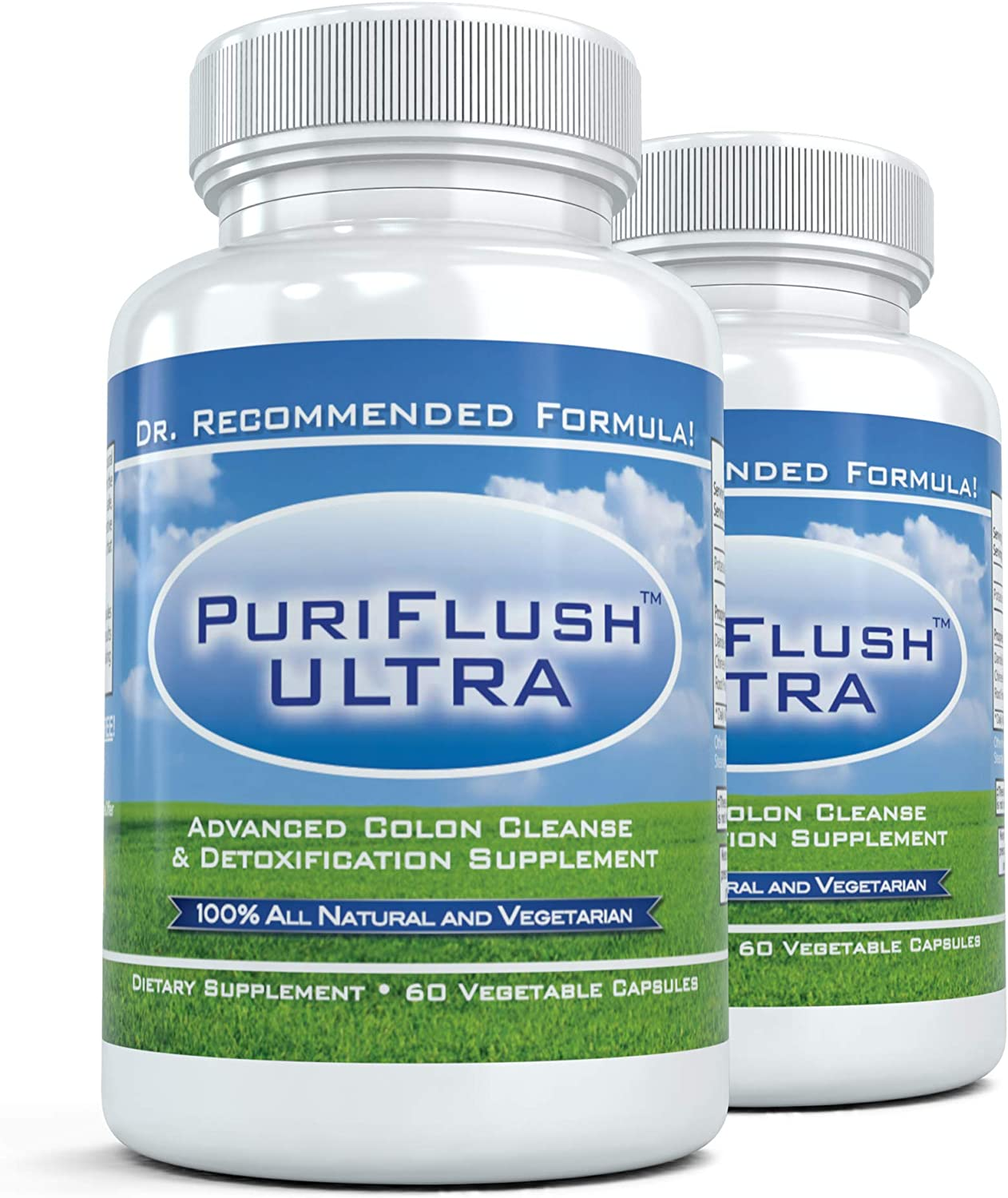 PURIFLUSH ULTRA 2 Bottles – Professional Strength All-Natural Colon Cleanse Supplement 60 Capsules per Bottle