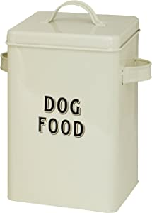 Maturi Cream Metal Dog Food Storage Container Tin with Scoop