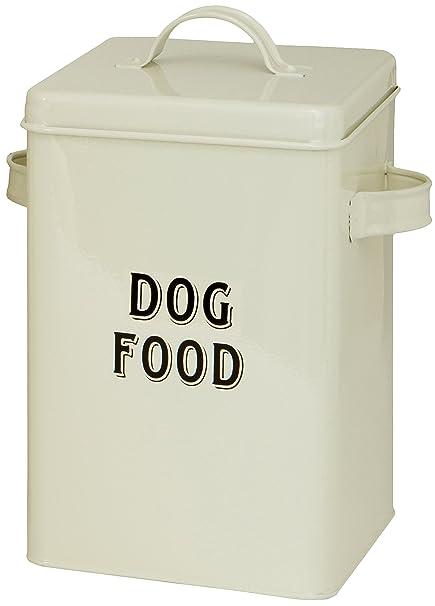 Maturi Metal Dog Food Storage Container Tin with Scoop, Cream