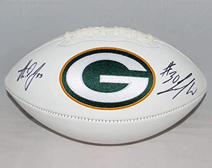 4b44852345a Aaron Jones & Jamaal Williams Signed Green Bay Packers White Logo ...