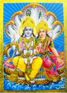 Handicraft Store Lord Visnhu Resting on sheshnag and Goddess Laxmi respecting him A Poster Painting with framing Must for Every Home Hindu Religious and Worship Purpose