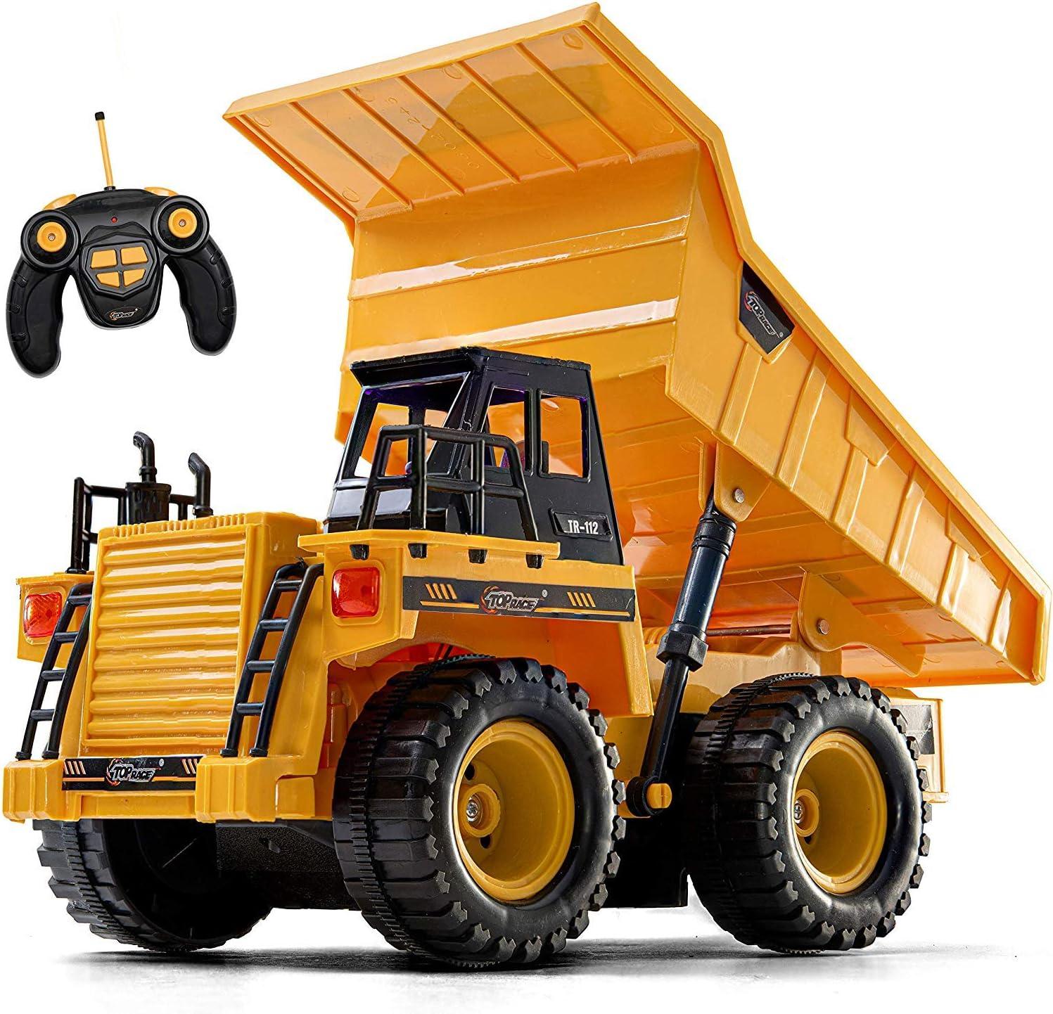 Top Race Juguete de camión volquete RC Completamente Funcional Modelo 112 de 5 Canales actualizado, Juguetes de Control Remoto, Camiones de construcción Pesada para niños. TR-112AA