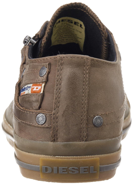 8c45c76cd1cdd4 DIESEL Schuhe Sneaker Herren Leder Magnete Expo Reißverschluss Low Major  Brown