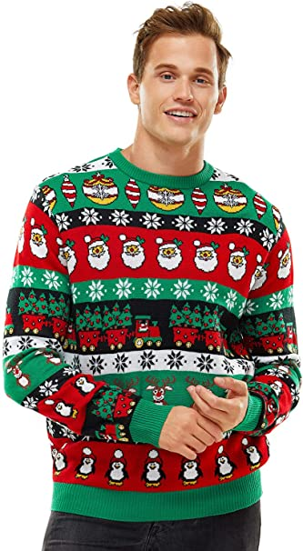 Ladies//Men Knitted Multi Colour 3D Pom Pom Christmas Tree Jumper Womens Xmas Top