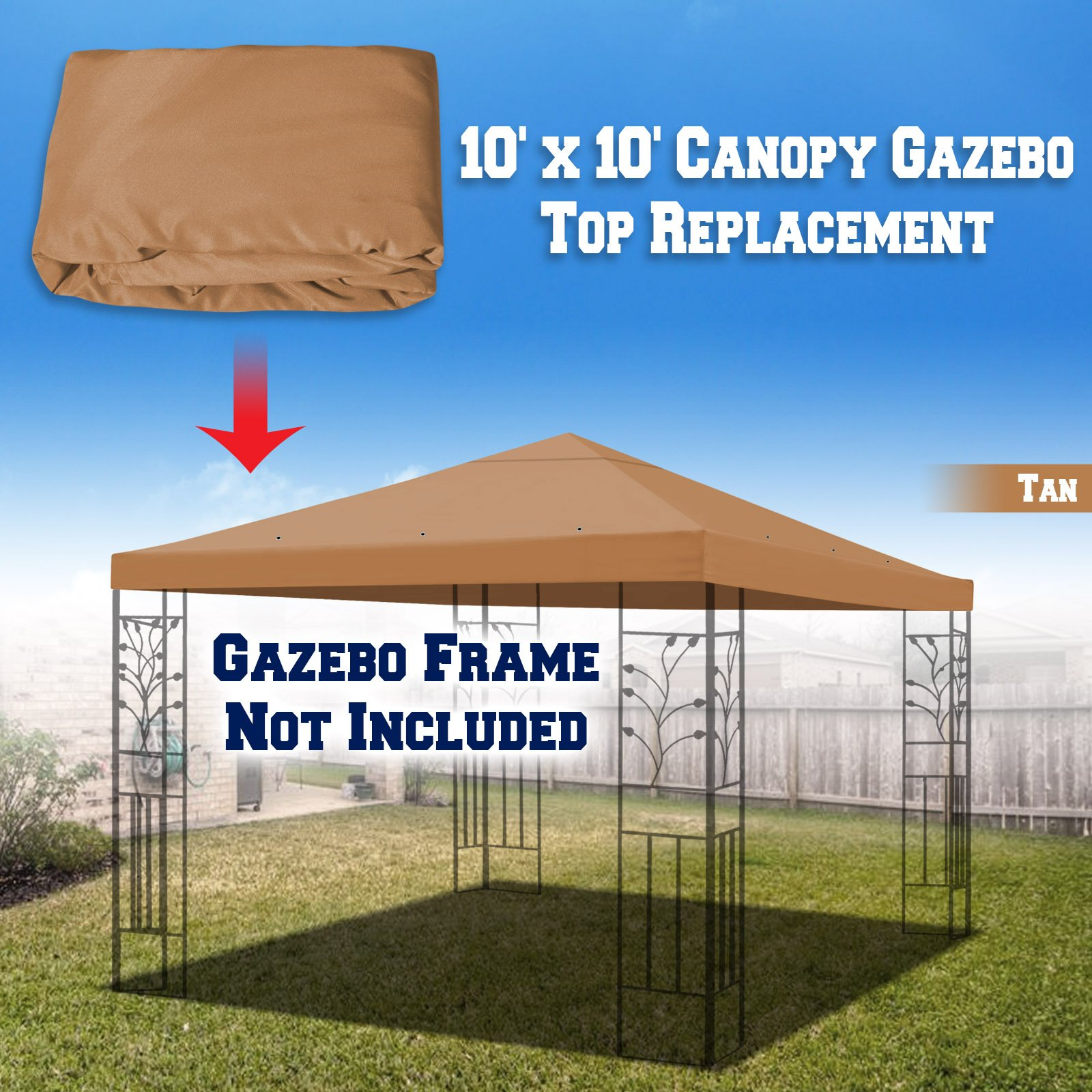 BenefitUSA Replacement Top Cover for 10'X10' Gazebo Canopy Patio Pavilion Sunshade Polyester Single Tier (Tan)