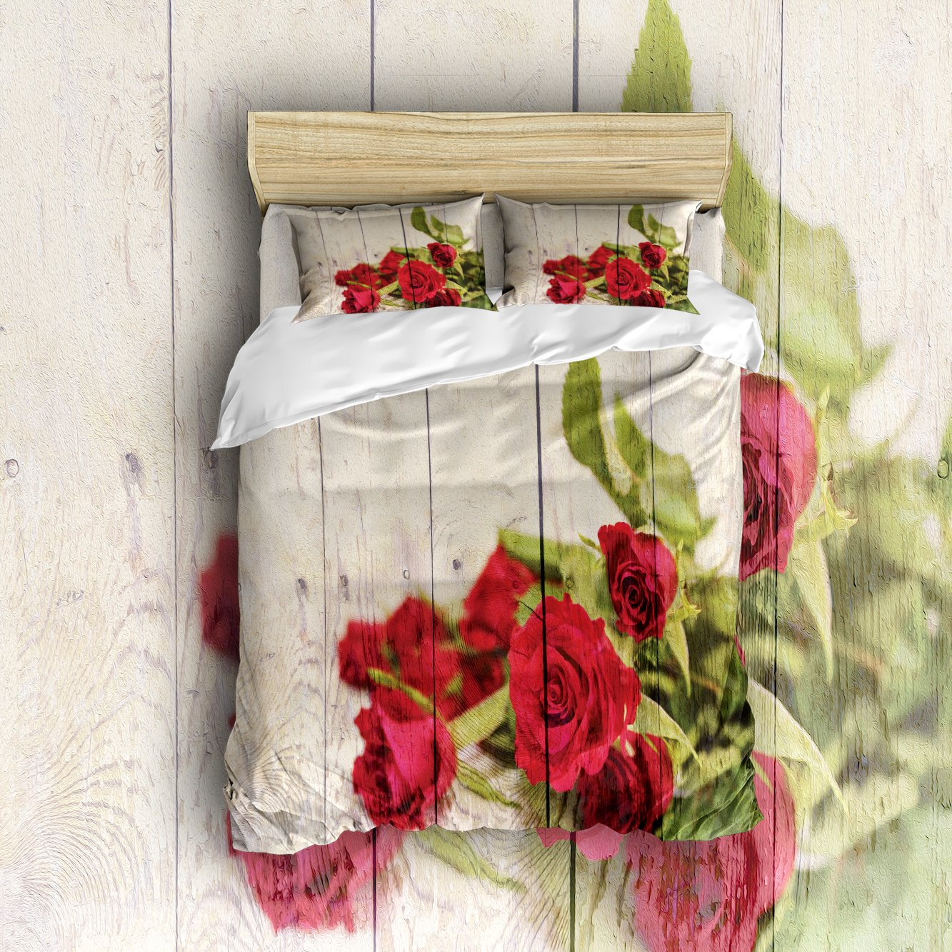 Red Rose Flower in Retro Wood Grain 4 PC Bed Sheet Set Duvet Cover Flat Sheet and 2 Pillow Cases BY MissHoney
