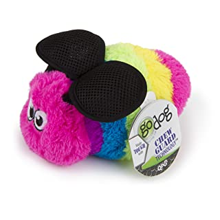 goDog Bugs Bee with Chew Guard Technology Plush Squeaker Dog Toy, Rainbow, Large