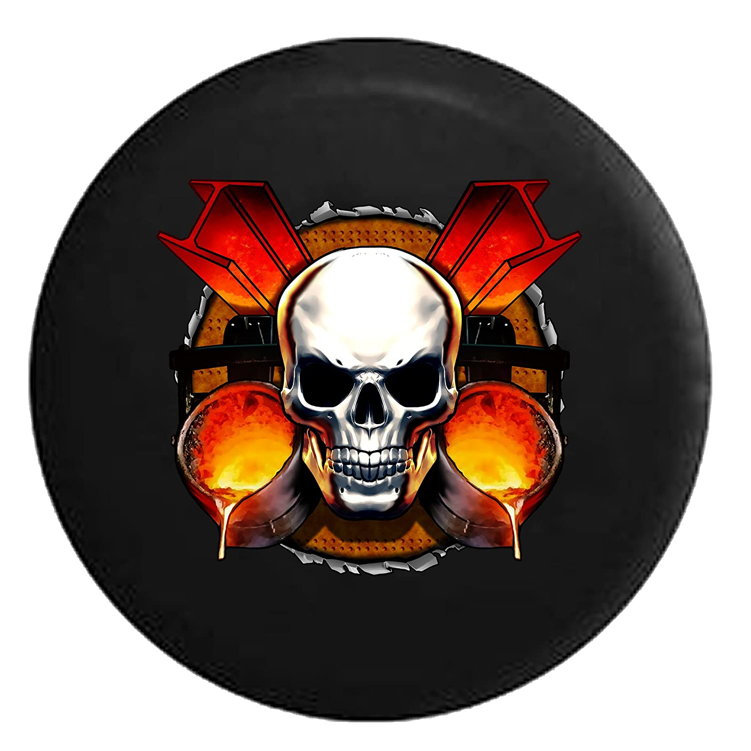 Amazon.com: Skull Iron Worker I Beam Welder TradesSpare Tire Cover Black 32 in: Automotive
