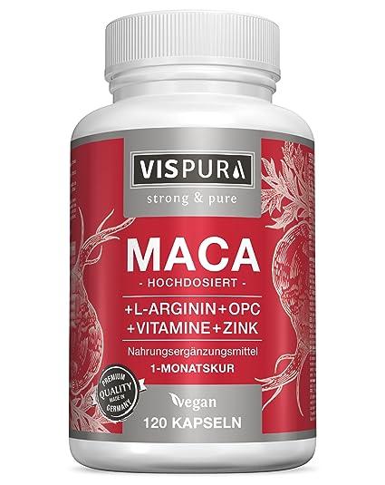 Maca en cápsulas, altamente concentrada con 5000 mg + L-arginina 1800 mg + vitamina B6, B12, OPC, zinc, 120 cápsulas para 1 mes, producto alemán de ...