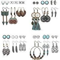 CASSIECA 36 pares Pendientes Colgantes de Retro para Mujeres Niñas Pendientes de Bronce de Plata Vintage con Perla Hoja…