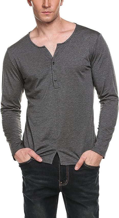 Mens Long Sleeve Hipster Stars V-Neck Printing Regular Fit T-Shirt
