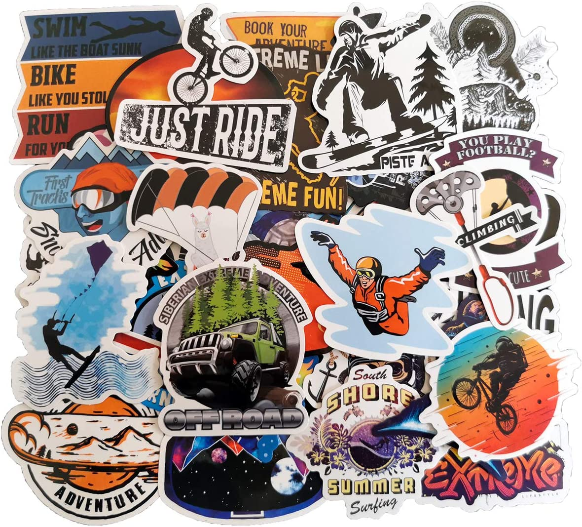 Outdoor Sport Adventure Tourism Stickers Pack(50-pcs), No Repeat Stickers for Skateboards Snowboard Bike Moto Laptop Water Bottle Luggage ATV SUV with Waterproof PVC.