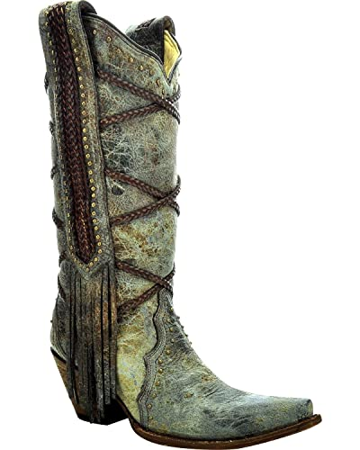 Corral Women's 13-inch Blue/Brown Braiding & Fringe Snip Toe Distressed Leather Boots - 10.5 B