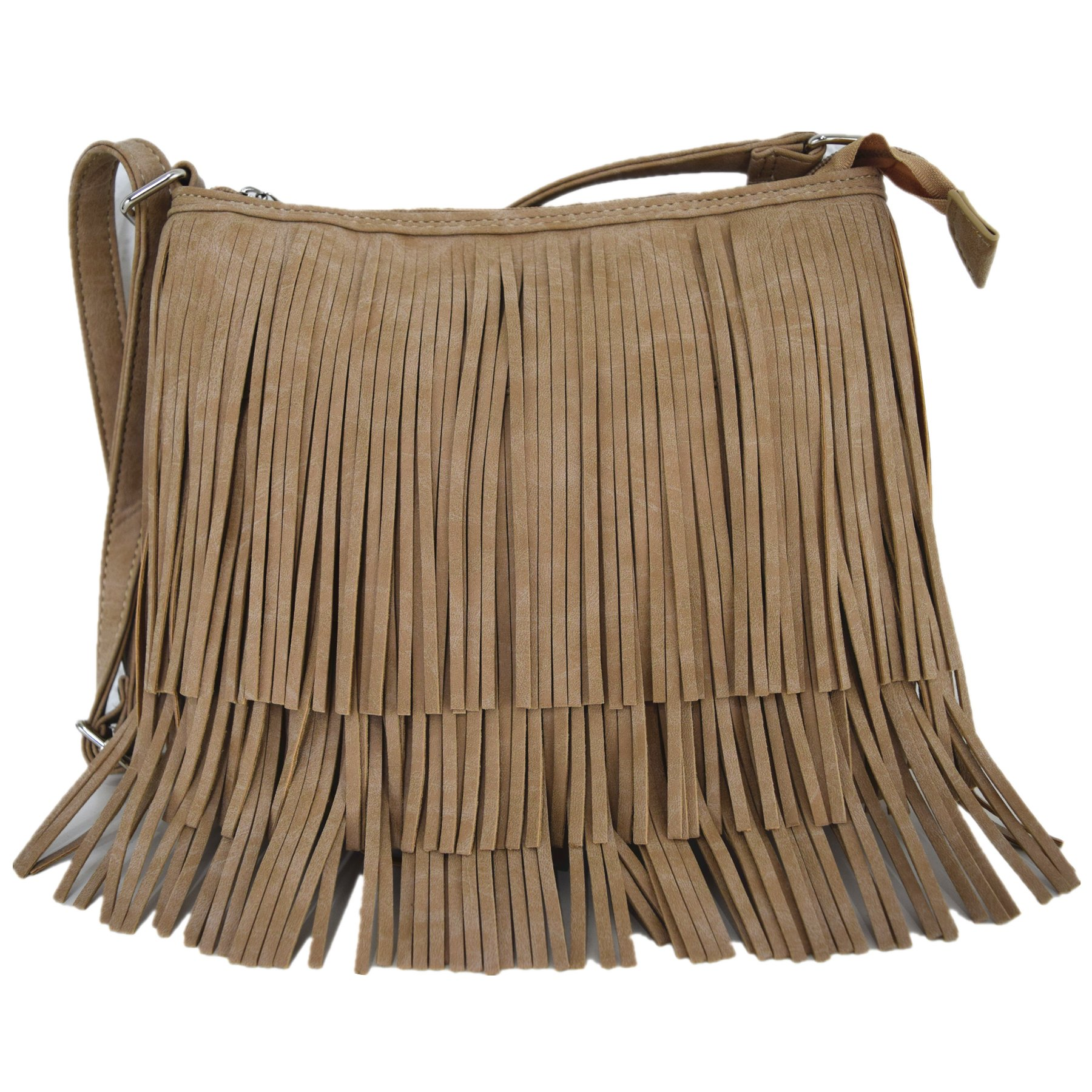 Western Cowgirl Style Fringe Cross Body Handbags Concealed Carry Purse Country Women Single Shoulder Bags (Tan)