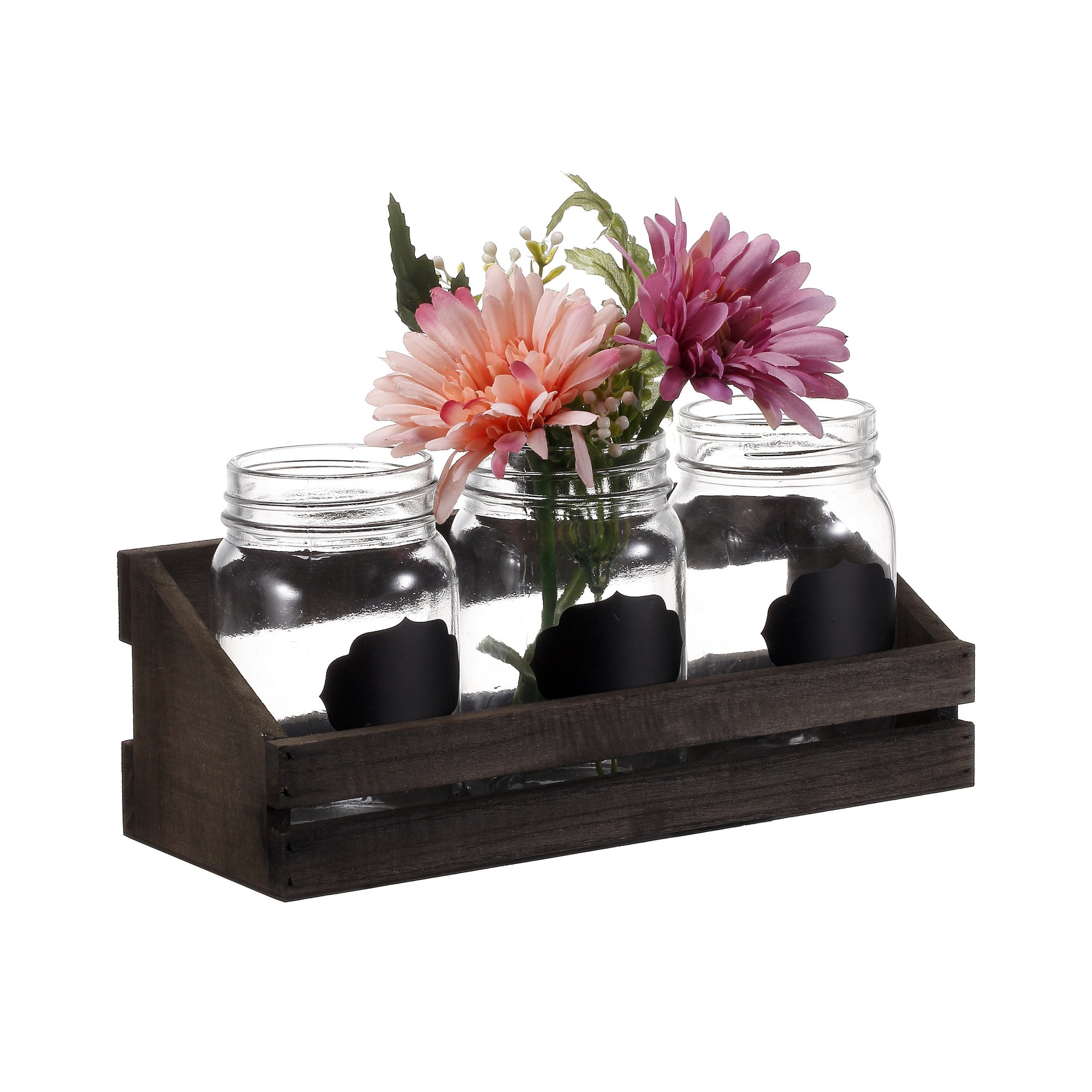 V-More Bud Vase with Chicken Wire Basket V-More Rustic Glass Mason Jar with Chalkboard Label and Wooden Tray 6.5-inch Tall For Home Decor Wedding Party Celebration by V-More Bud Vase with Chicken Wire Basket (Image #8)