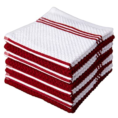 Sticky Toffee Cotton Terry Kitchen Dishcloth, 8 Pack, 12 in x 12 in, Red Stripe