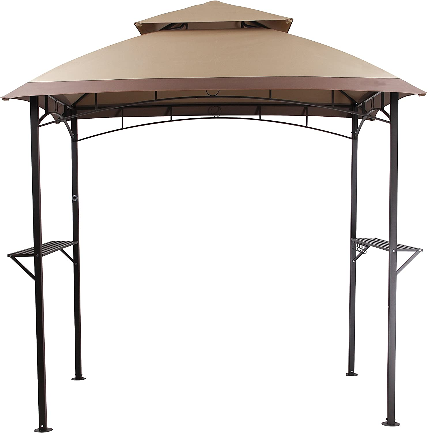 PHI VILLA Outdoor 8 x 5 BBQ Grill Gazebo Barbecue Shelter Tent with Double-Tier Soft Top Canopy and Frame