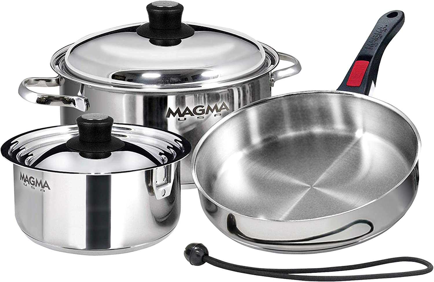 Magma Products, A10-362-IND 7 Piece Induction Cook-Top Gourmet Nesting Stainless Steel Cookware Set