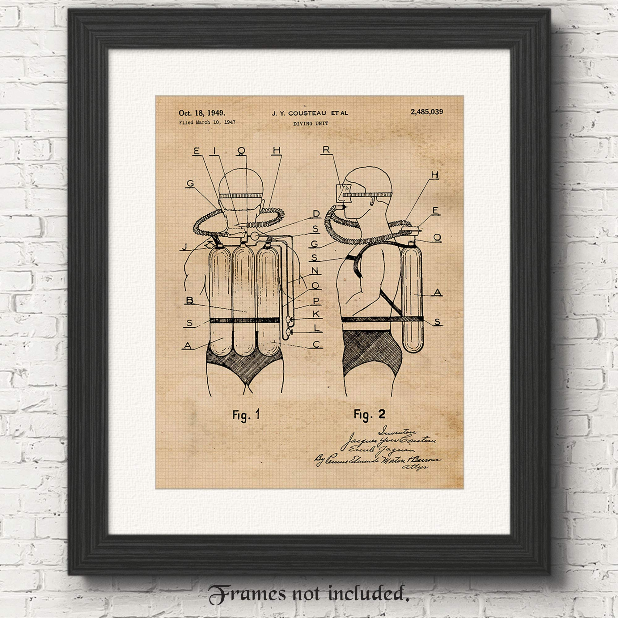 Original Scuba Diving Tank Patent Art Poster Prints, Set of 1 (11x14) Unframed Photo, Great Wall Art Decor Gifts Under 15 for Home, Office, Studio, Garage, Shop, Man Cave, Student, Teacher, Ocean Fan by Stars by Nature