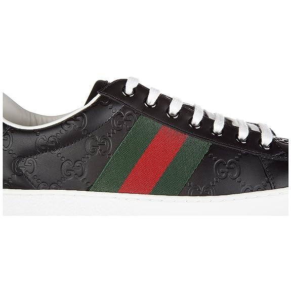 Gucci Zapatos Zapatillas de Deporte Hombres EN Piel Nuevo Signature Negro: Amazon.es: Zapatos y complementos