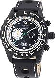 Nautec No Limit Herren-Armbanduhr XL Indianapolis Chronograph Quarz Leder IP QZ/LTSTBKBK
