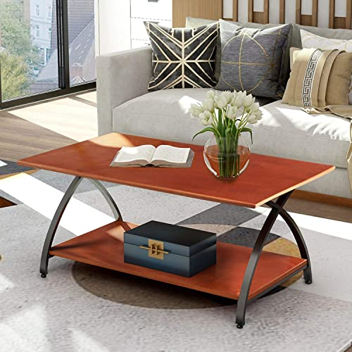 Coffee Table Wood Coffee Table with Curved Cross Legs for Living Room Easy Assembly, Cherry