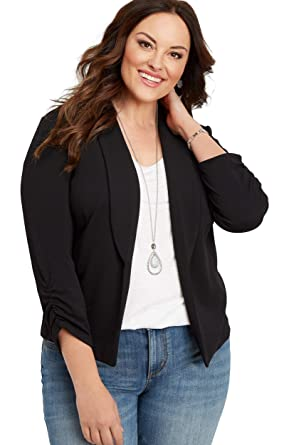 5a472e684ed maurices Women s Plus Size Solid Open Front Blazer at Amazon Women s  Clothing store