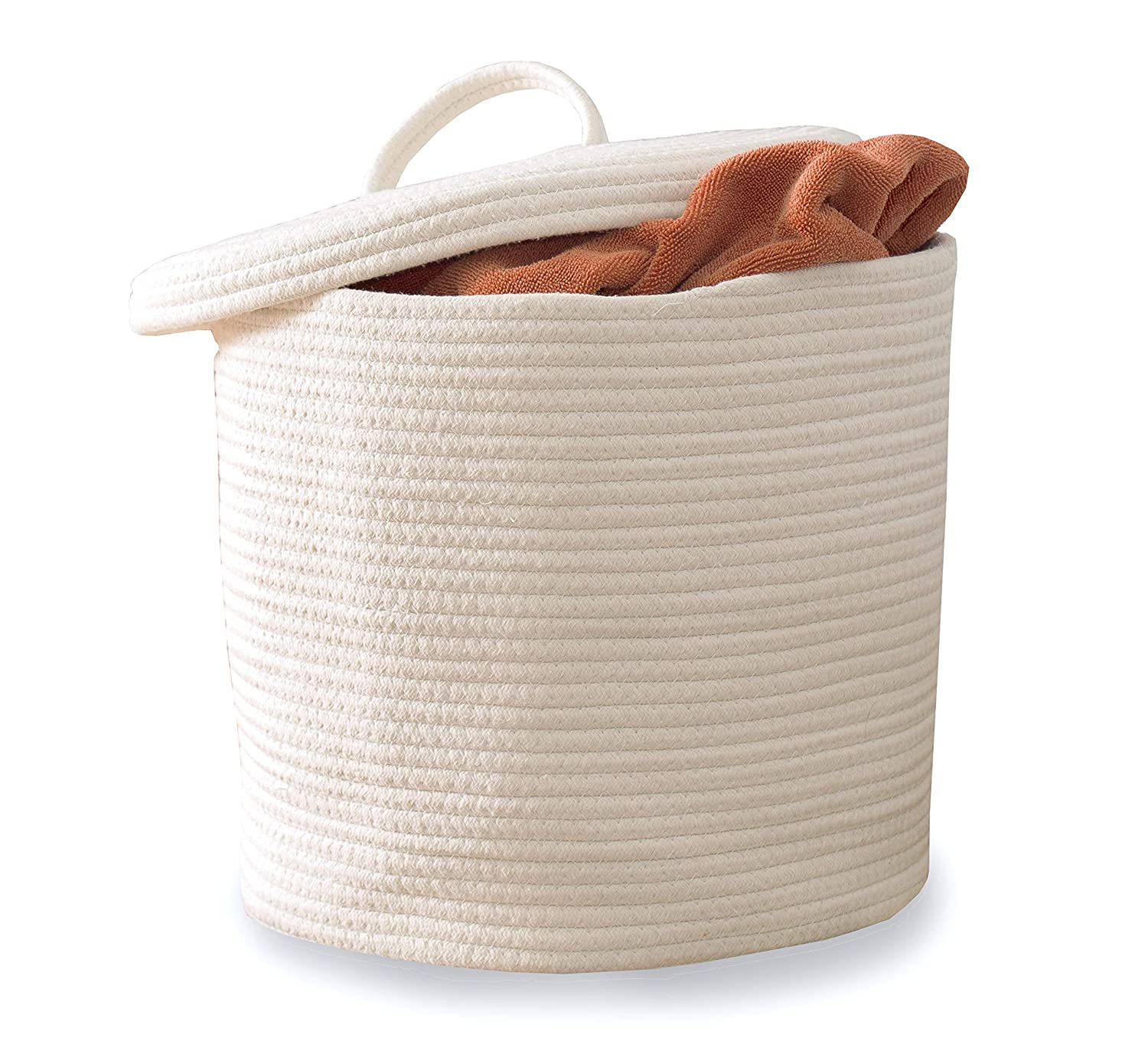 Cotton Rope Storage Basket- Large Woven Baskets with Lid and Handles 15 x 13 Home Living Room Floor Toy Organizing bins for Nursery White Round Hamper Pillow and Big Laundry Blanket