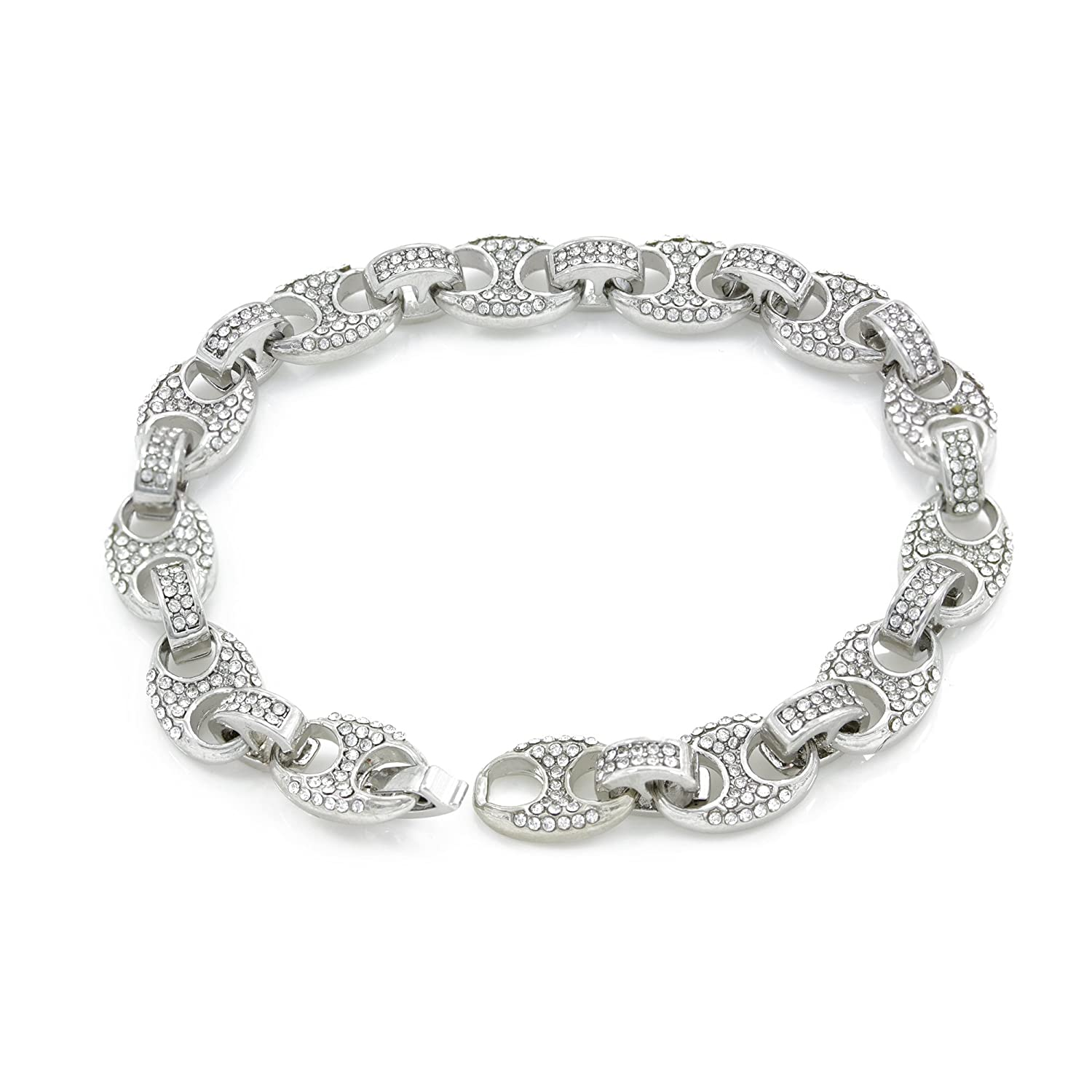 4279fb96741 Bling Bling NY Mens Iced Out Mariner Link Choker Necklace Bracelet Silver  Finish Lab Created Diamonds 10MM (8.5-30 inches) (Bracelet 8.5  )