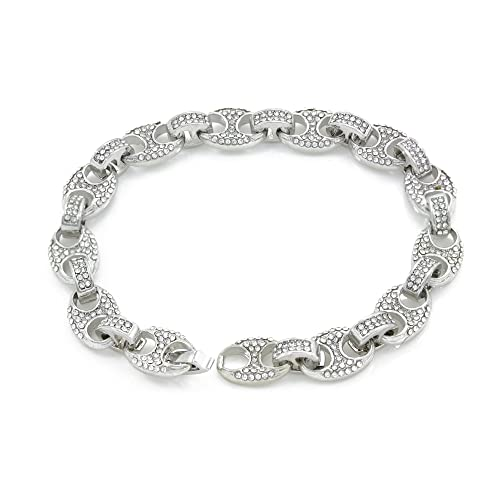 c1e8a6b28 Bling Bling NY Mens Iced Out Mariner Link Choker Necklace/Bracelet Silver  Finish Lab Created
