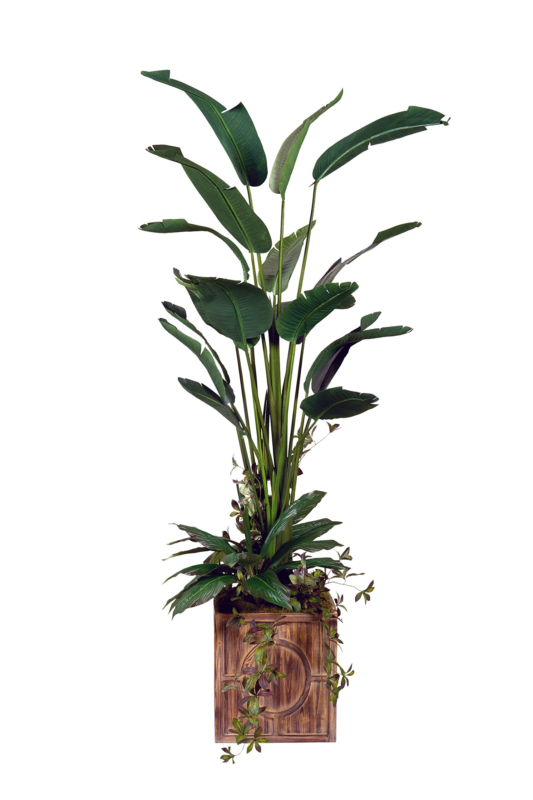 D & W Silks 317117 Bird of Paradise Tree in Square Wood Planter, Green/Brown
