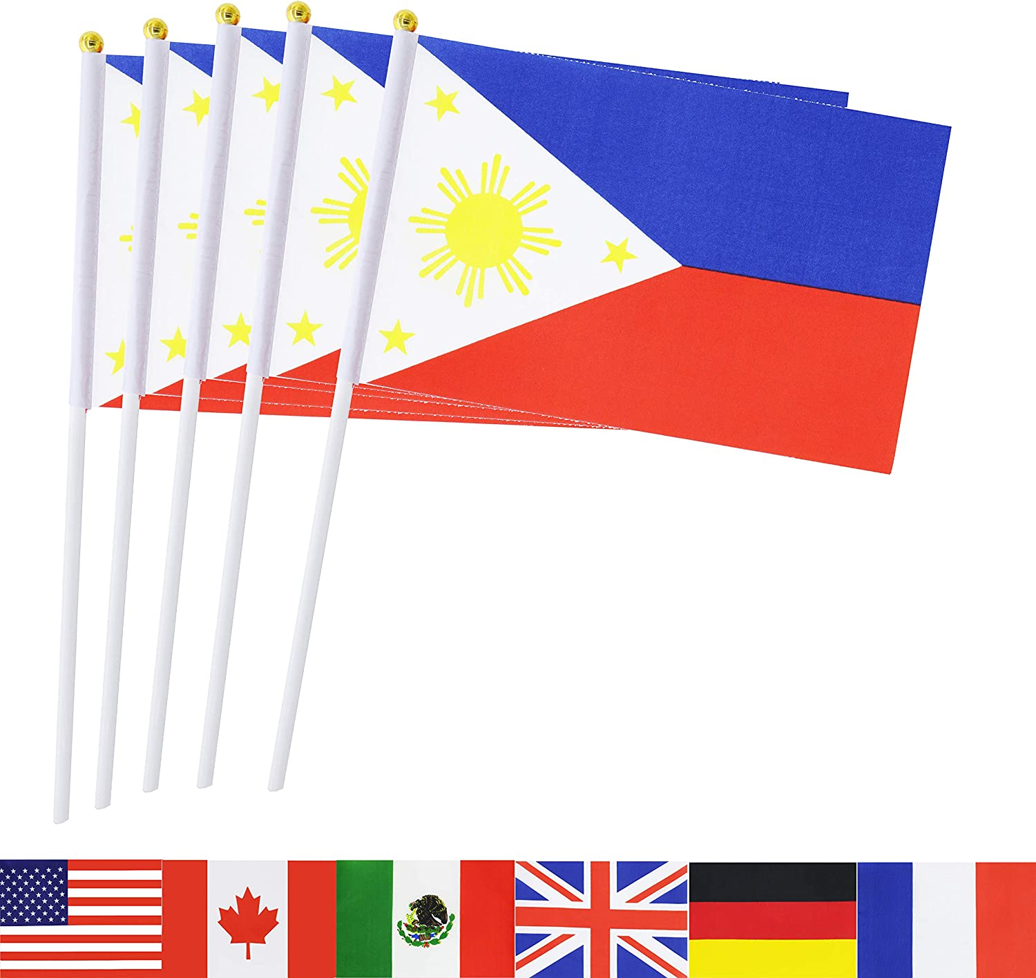 TSMD Philippines Stick Flag, 50 Pack Hand Held Small Filipino National Flags On Stick,International World Country Stick Flags Banners,Party Decorations for Olympics,Sports Clubs,Festival Events