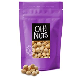 Oh! Nuts Oven Roasted Macadamia Nuts   Dry-Roast, Unsalted, & Gluten-Free   All-Natural, Additive-Free Healthy Snack   Large-Sized, No Oil Keto Snacks in Resealable 3-Pound Bag for Extra Freshness