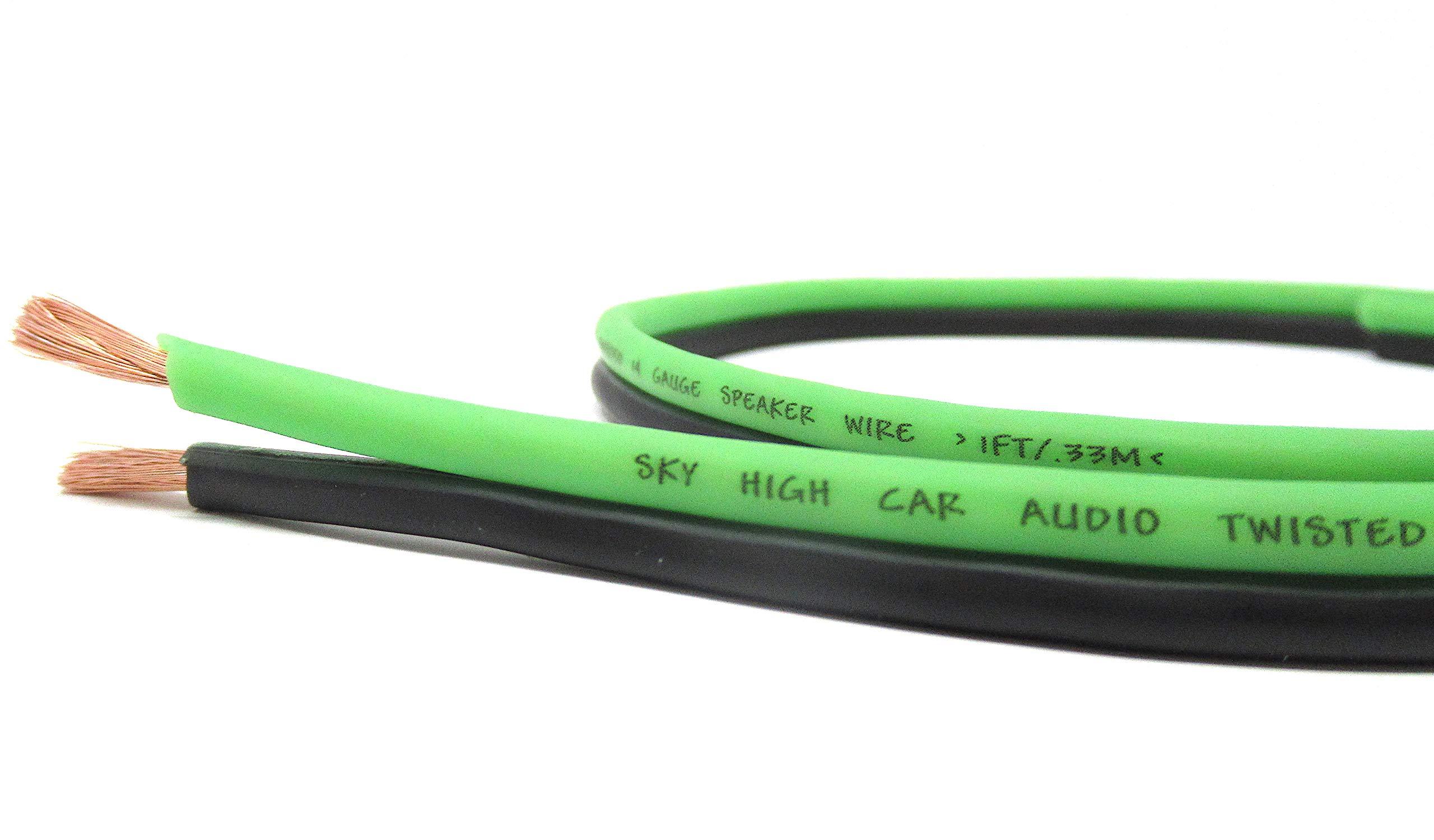 100' feet True 10 Gauge AWG OFC Speaker Wire Green/Black Car Home Audio
