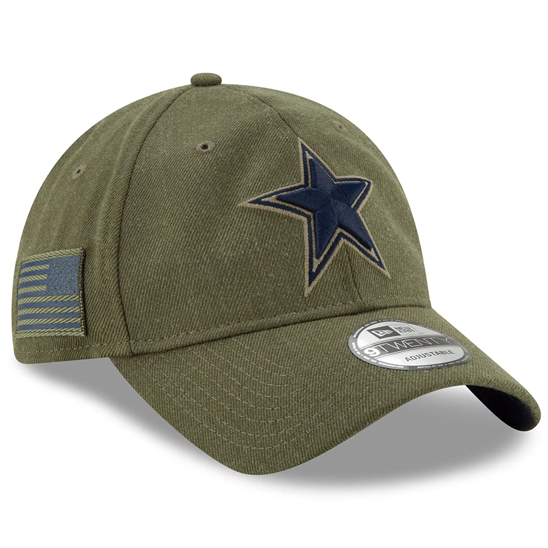 b0107a9c8b0 Amazon.com  New Era Authentic Dallas Cowboys 2018 Salute to Service Sideline  9TWENTY Adjustable Hat – Olive  OSFM  Clothing