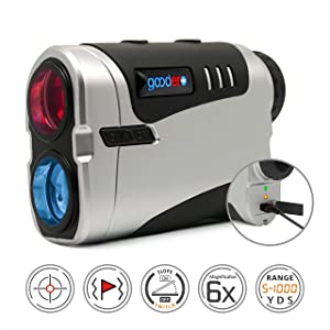 Goodero Golf Rangefinder, 1000 Yards 6X Rechargeable Laser Range Finder with Slope Switch ON/Off, Pinseeker, Fast Flag Lock, Jolt Vibration, Speed, Scanning Measurement - Tournament Legal