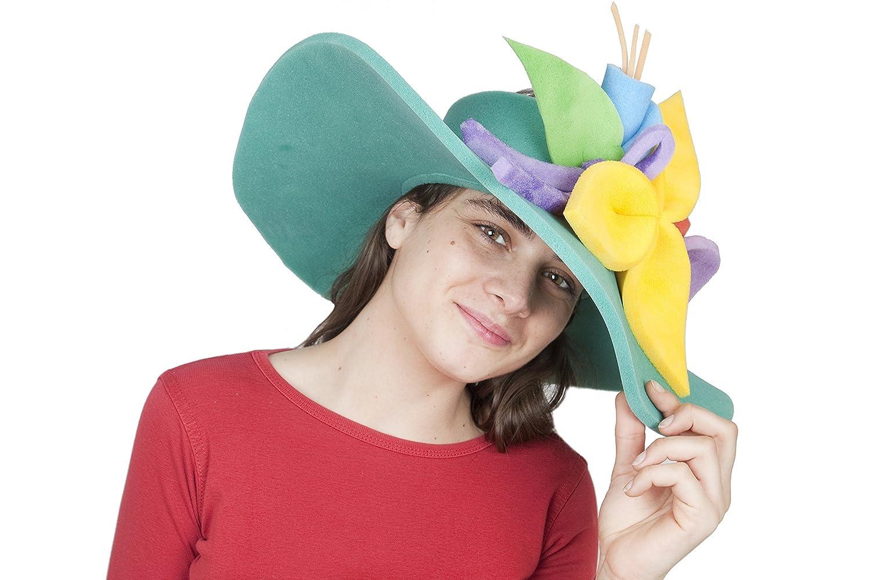 Sombrero de gomaespuma pamela verde de flores de colores: Amazon ...