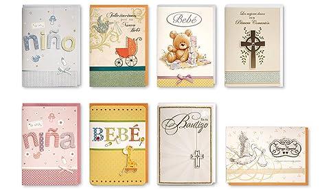 Juego de 8 tarjetas de felicitación para bebé, hechas a mano en ...