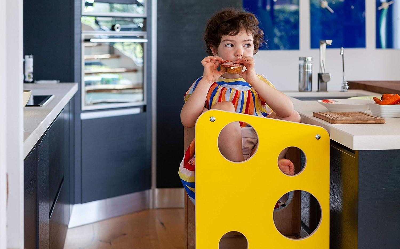 blue Torre di apprendimento//lavagna//seggiolone di Leea Toys con lavagna e scivolo