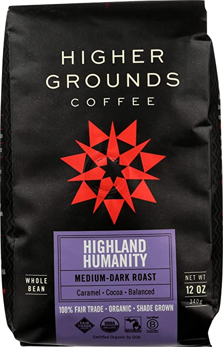 Higher Grounds Coffee - Fair Trade - USDA Organic - Shade Grown Whole Bean Coffee - Highland Humanity Blend -12 Ounces
