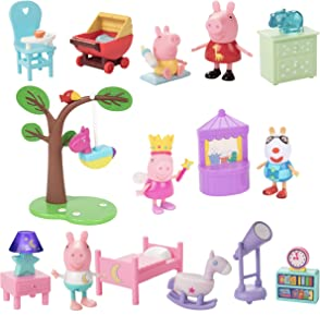 Peppa Pig Little Rooms Nursery, Goodnight Peppa & Birthday Party Playsets, 16 Pieces - Includes Peppa Figures, Character Figures, Furniture & More! - Ages 2+