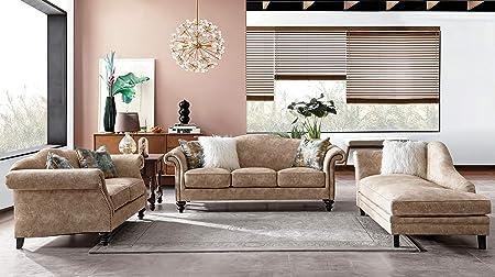 Acanva Mid Century Vintage Velvet Living Room Sofa Set, 3 Piece, Almond