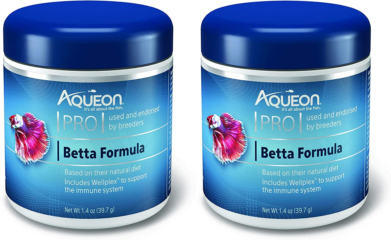 Aqueon 2 Pack of PRO Betta Formula Floating Pellet Fish Food, 1.4 Ounces Each