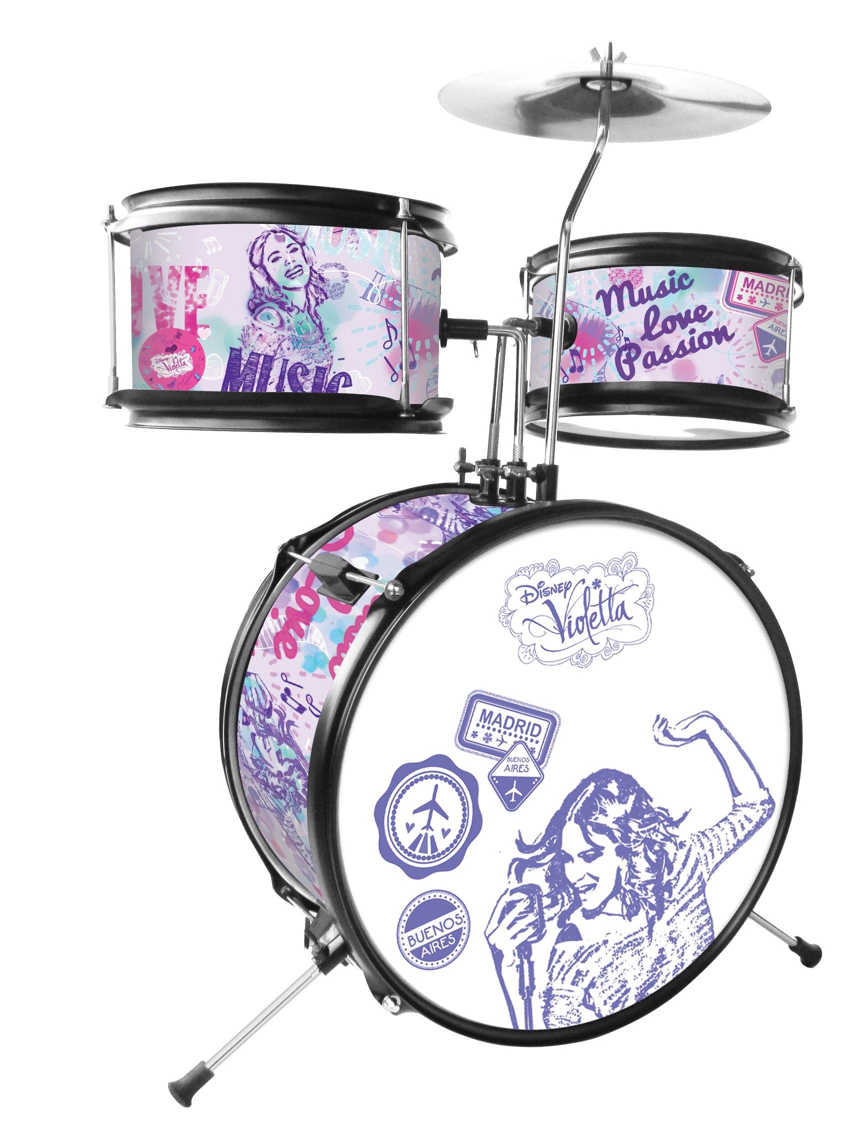 LEXiBOOK Disney Violetta Junior Drum Set, 1 bass Drum, 1 Pair of Drumsticks, White/Purple, K600VI by LEXiBOOK